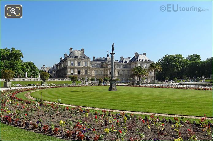 Jardin Du Luxembourg West Side Semicircular Flowerbed And Grass Area
