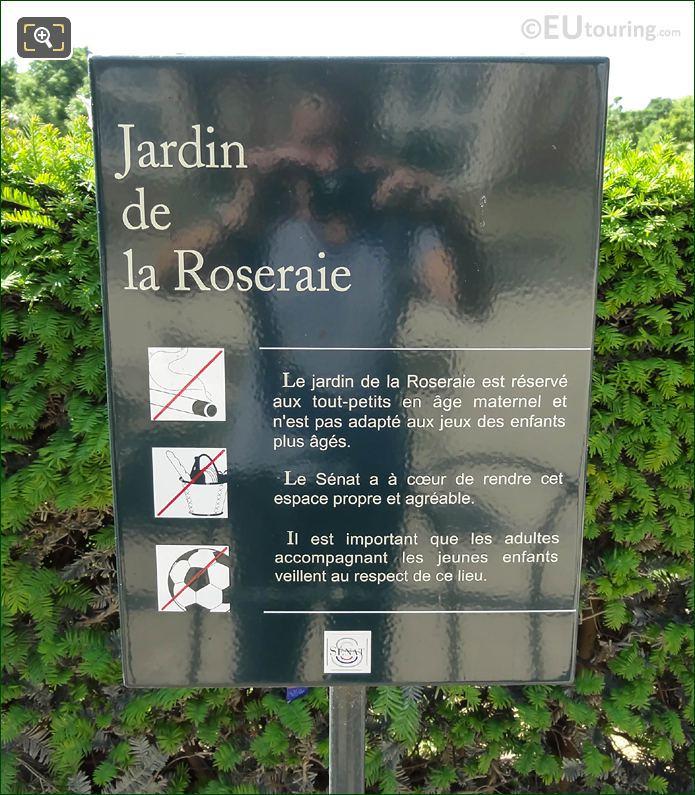 Tourist Information Board For Jardin De La Roseraie