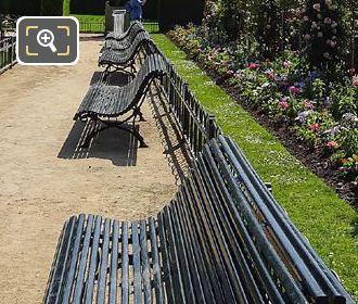Green Park Benches Inside Rose Garden Jardin Du Luxembourg