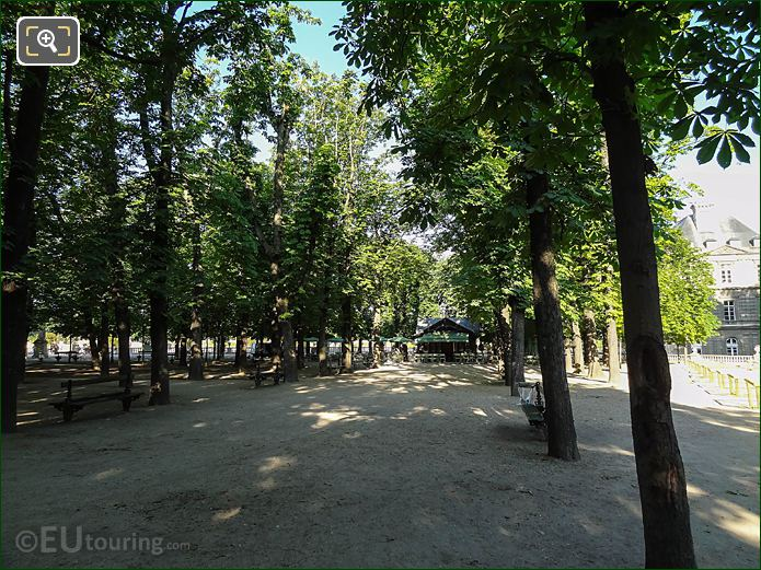 Tree Lined Pathway To Pavillon De La Fontaine Jardin Du Luxembourg
