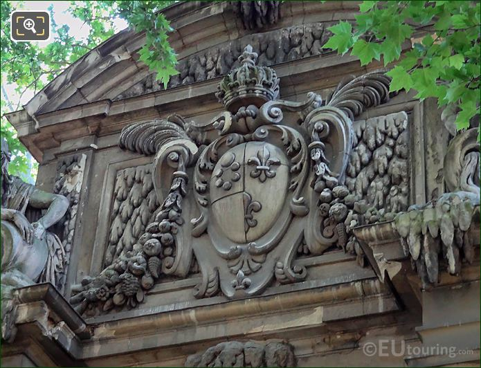 Coat Of Arms Of France And Medici On Fontaine Medicis