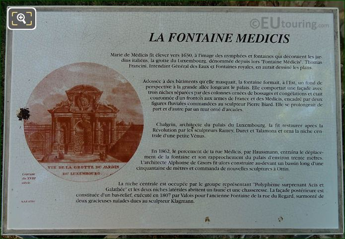 Tourist Information Plaque For Fontaine Medicis