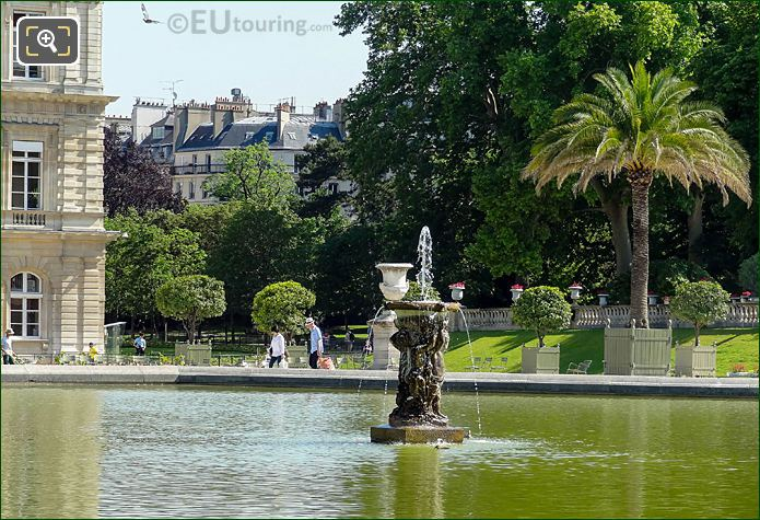 NW View Over Jardin Du Luxembourg Grand Basin Water Fountain