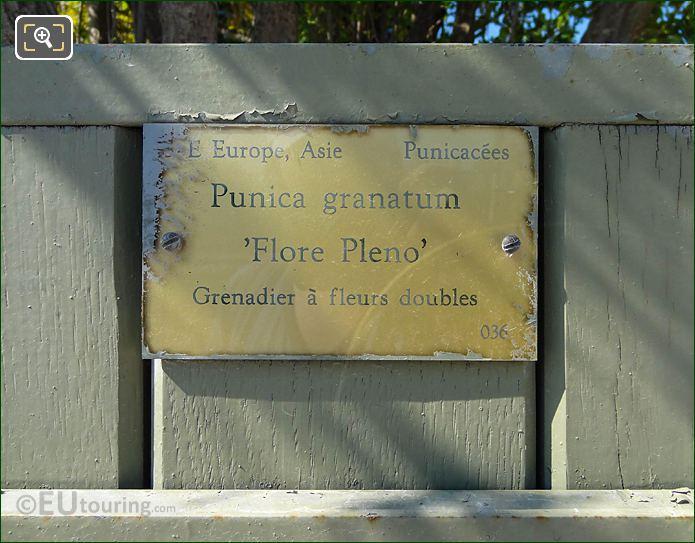 Tourist Information Plaque Pot 36 Jardin Du Luxembourg