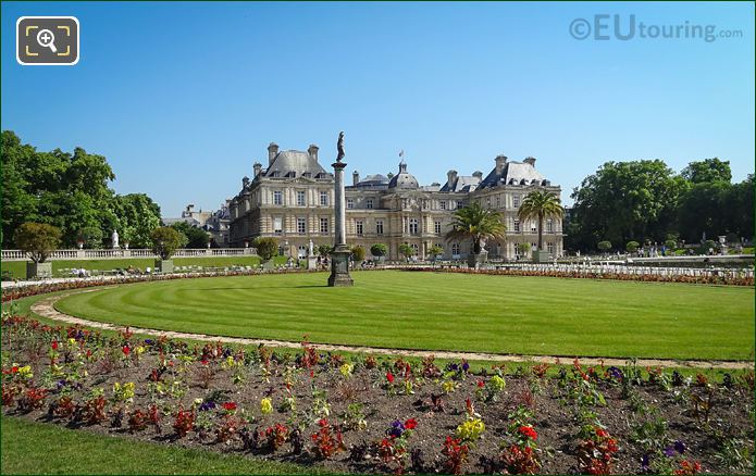 Western Semi-Circular Lawn Area With Palais Du Luxembourg