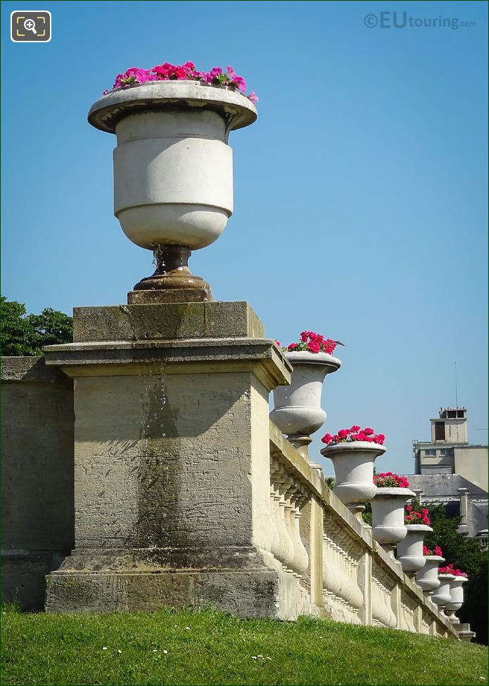 West Terrace Plant Pots With Red Flowers In Jardin Du Luxembourg