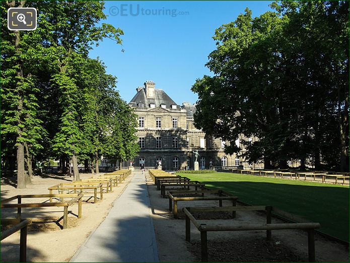 Looking West Down Walkway To Palais Du Luxembourg East Facade