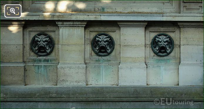 Three Mascarons On Fontaine De Leda