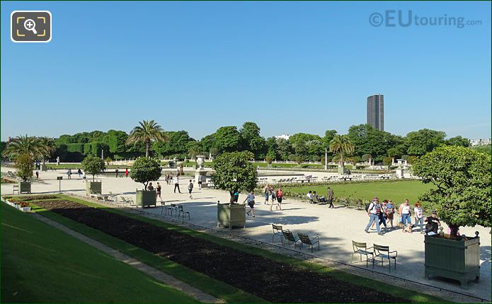Garden And Grand Basin Viewed From Eastern Terrace In Jardin Du Luxembourg