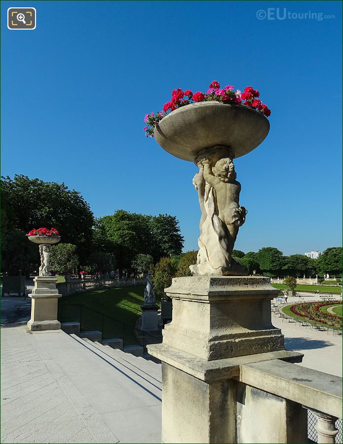 Jardin Du Luxembourg Central Staircase East Terrace Stone Vases With Cherubs