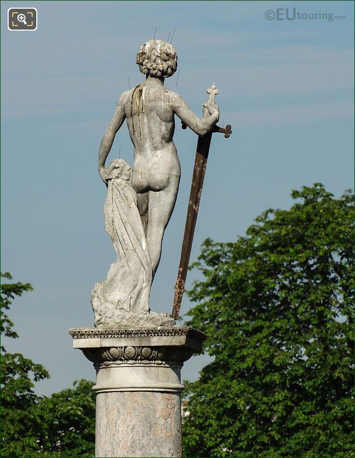 Jardin Du Luxembourg David Conquers Goliath Statue Back