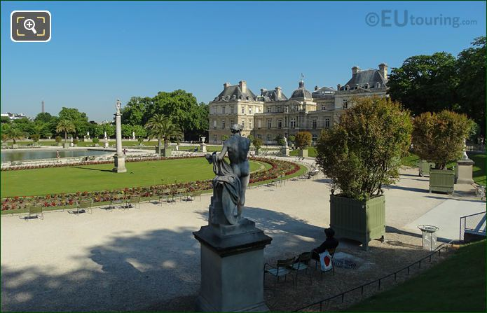 Eastern Semi-Circular Lawn Area With Palais Du Luxembourg