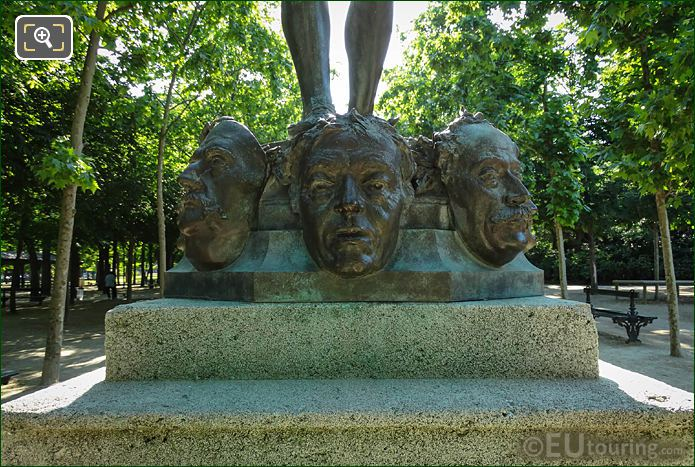 Bronze Masks Of Famous French People In Jardin Du Luxembourg