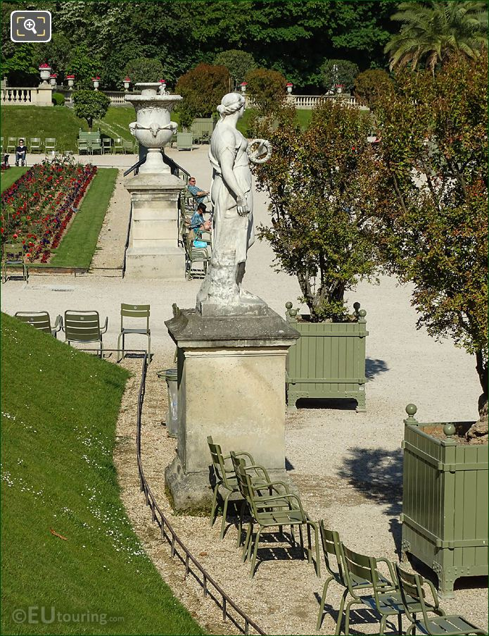 View From Eastern Terrace With Flore Statue In Jardin Du Luxembourg