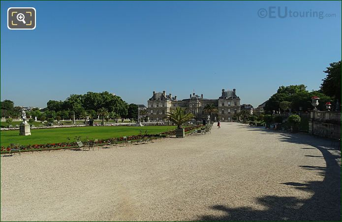 Looking North Down East Side Jardin Du Luxembourg Central Garden