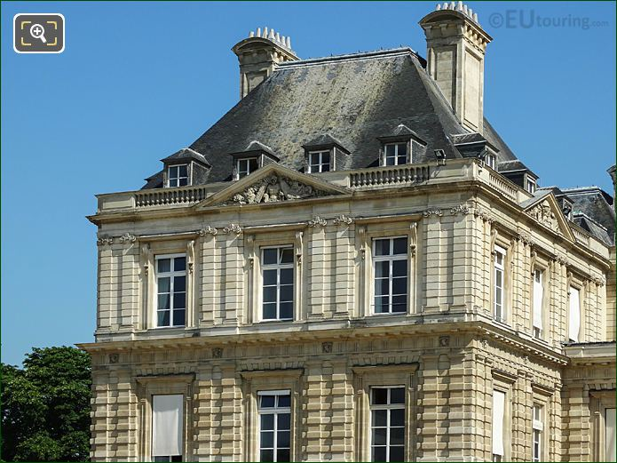 Palais Du Luxembourg West Side Pavilion Roof Luxembourg Gardens