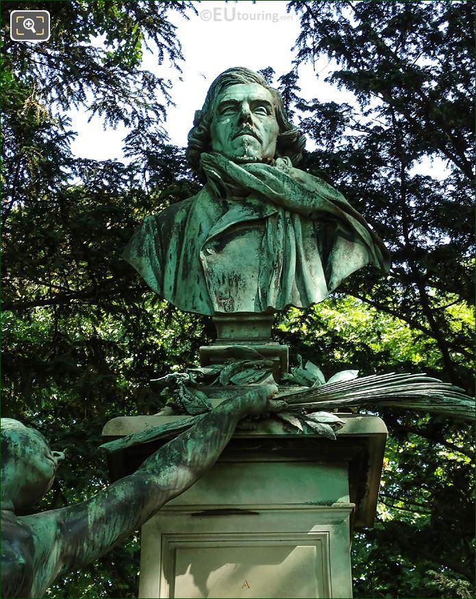 Bronze Bust Of Eugene Delacroix By Sculptor Aime Jules Dalou
