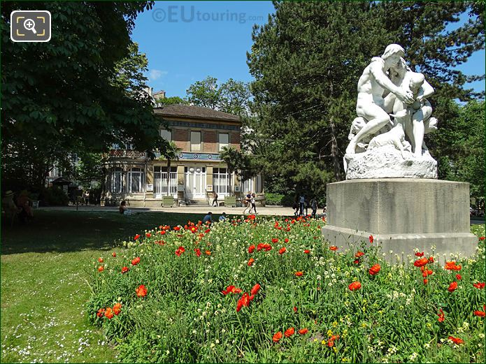 Pavillon Davioud With Joies De La Famille Statue In Jardin Du Luxembourg