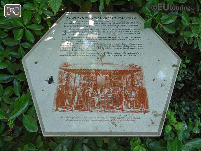 Apiary-School Tourist Information Board In Jardin Du Luxembourg