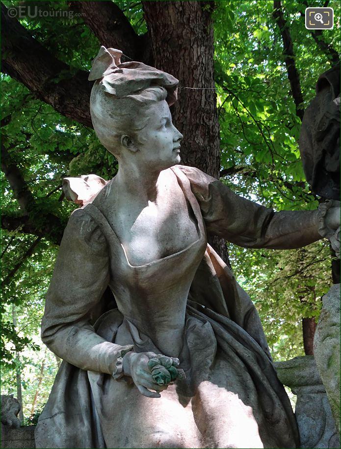 Jardin Du Luxembourg Lady Statue Antoine Watteau Monument