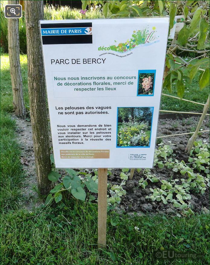 Parc De Bercy Information Board