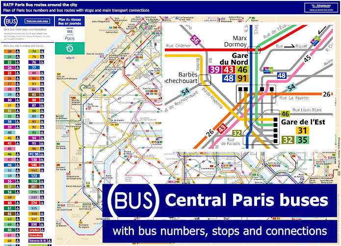Paris Bus Route Maps With City Street Plan In PDF Or Image File – Paris Tourist Map Pdf