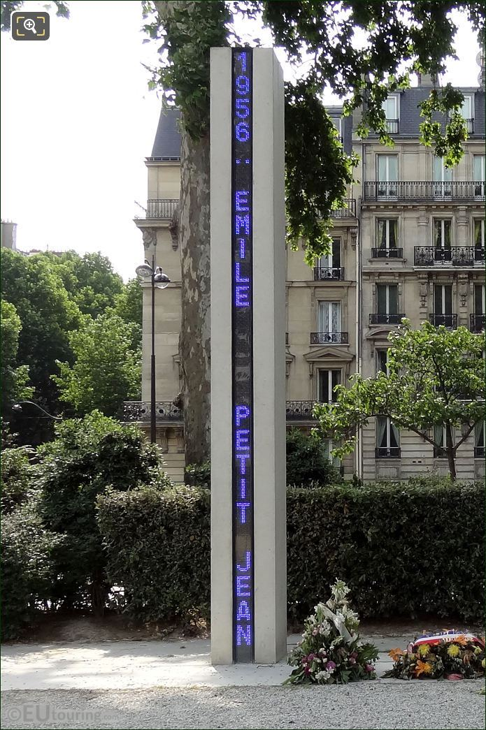 Blue LED Column at Memorial National de la Guerre d'Algerie