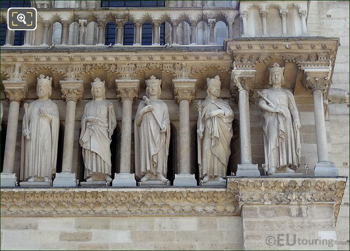 Statues Above The Doorways At Notre Dame