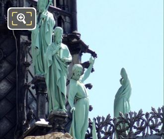 Apostle Statues Next To Notre Dame Spire