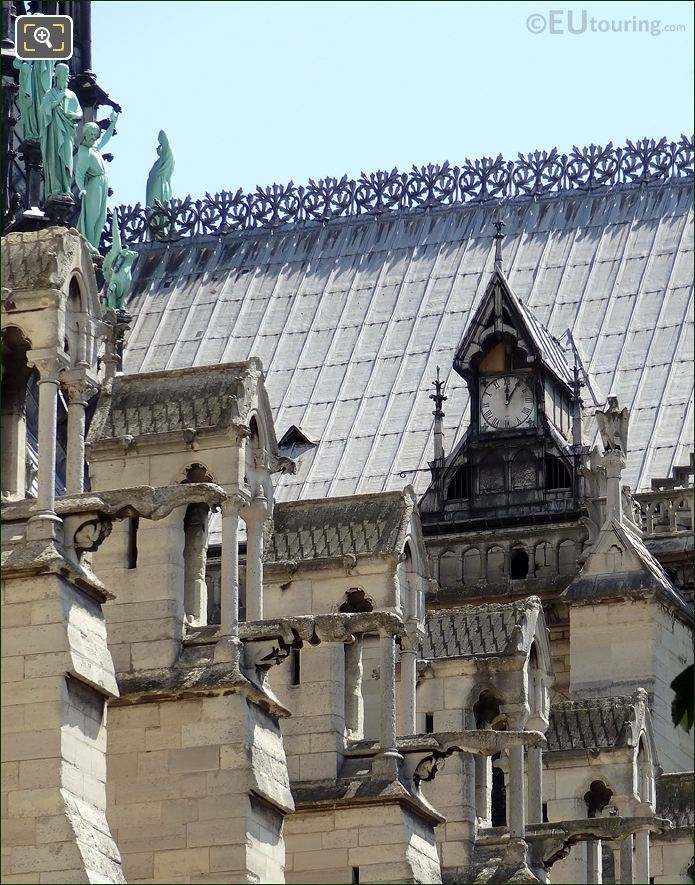 Statues And Gargoyles On Notre Dame