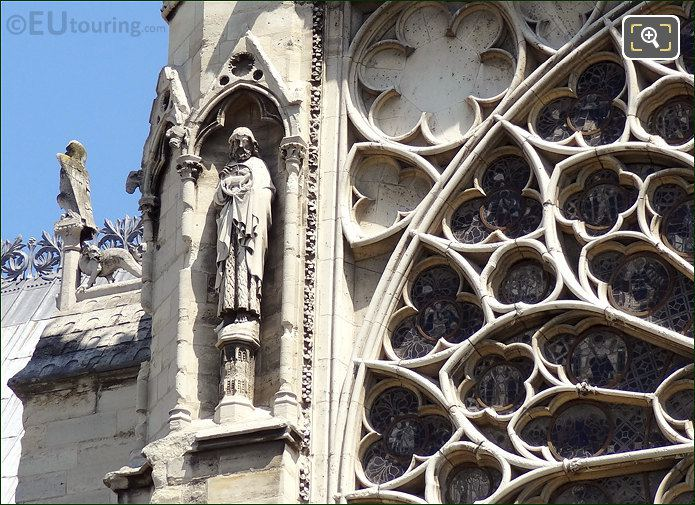 Statues Next To South Rose Window