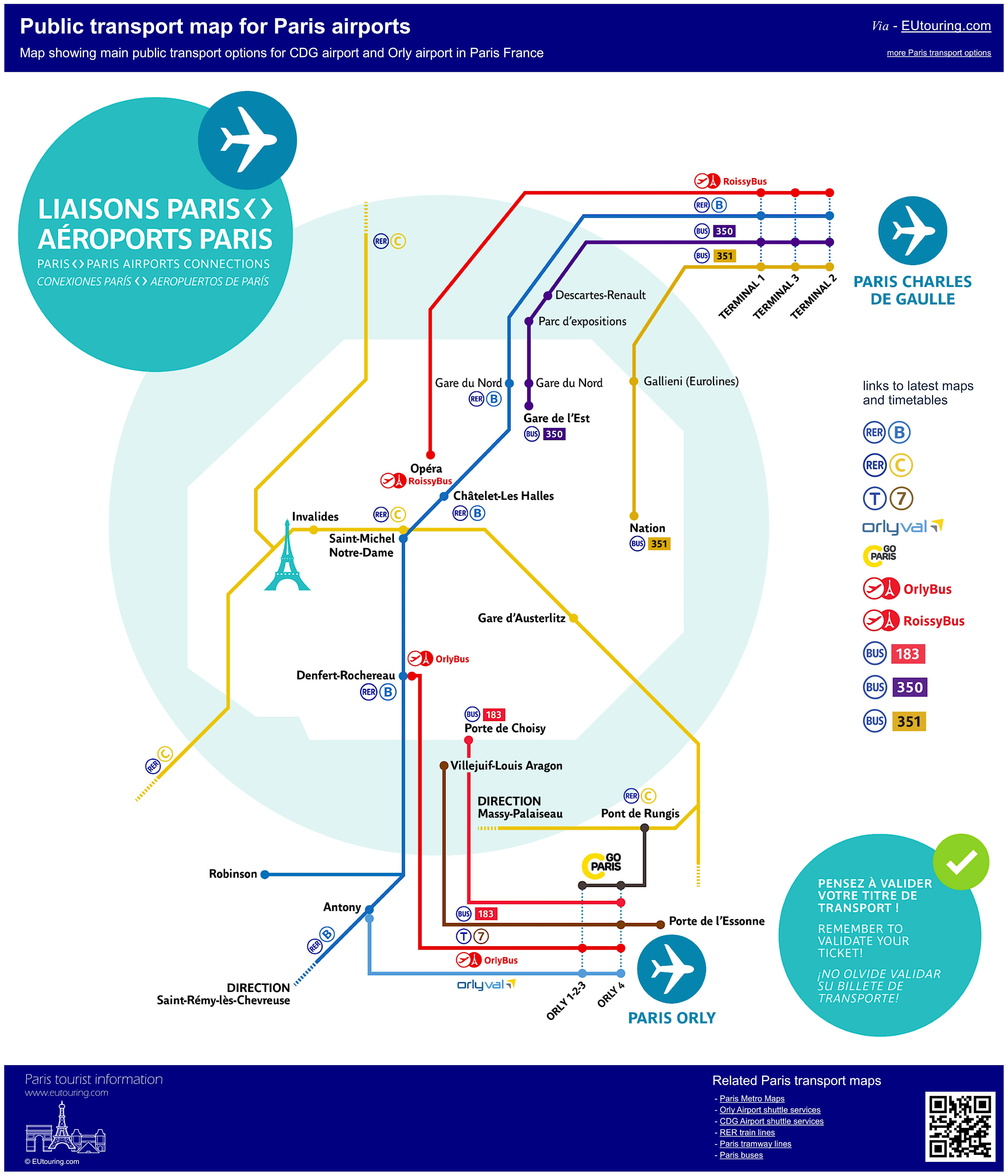 Map Of France Showing Airports.Public Transport Maps Of Trains Trams And Buses For Paris Airports