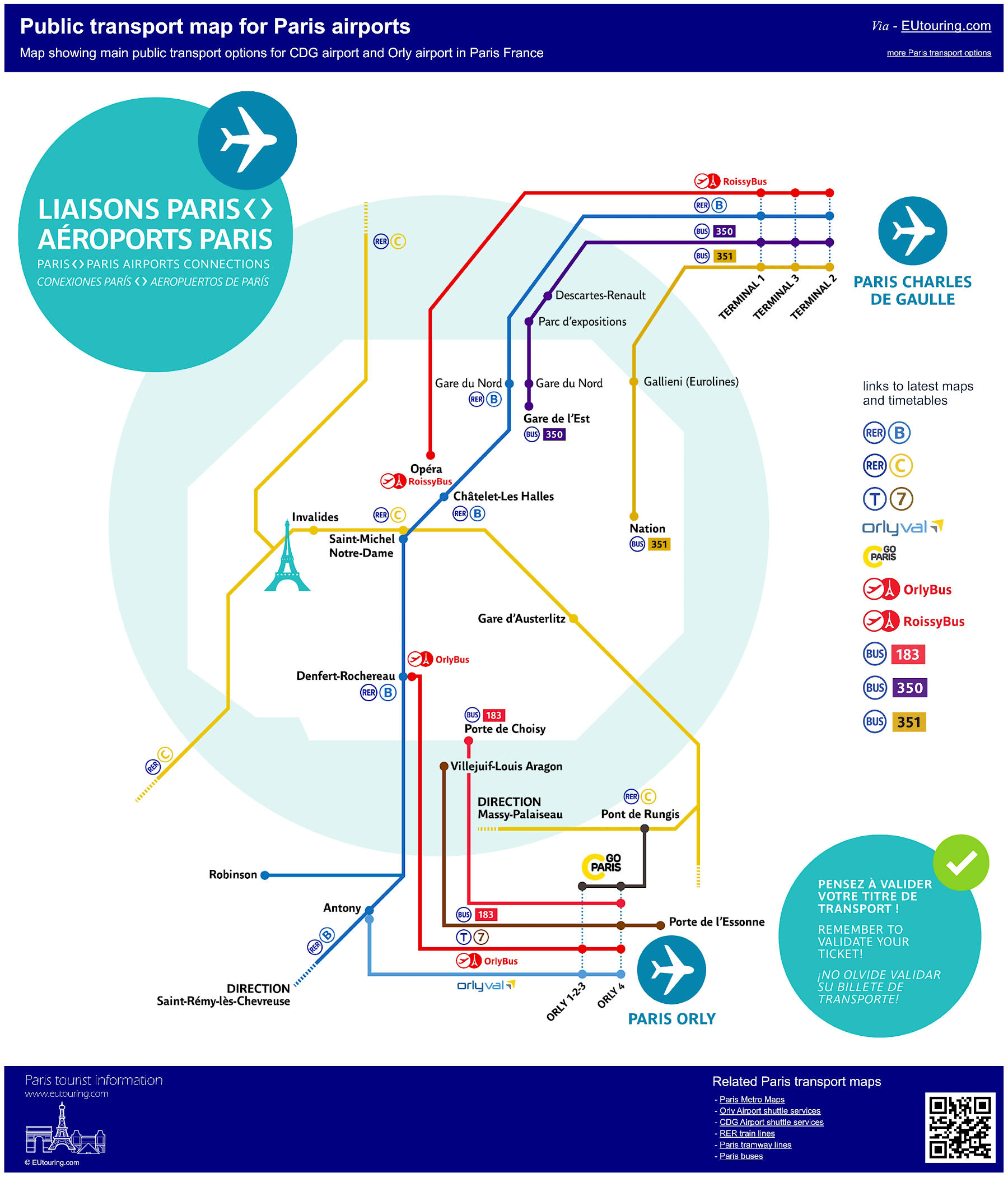 Paris Airports Map Public Transport Maps Of Trains, Trams And Buses For Paris Airports