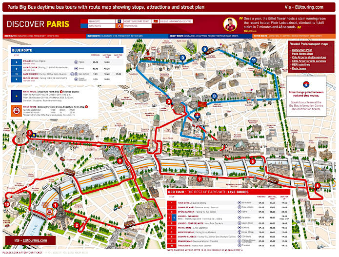 Big Bus Paris Sightseeing Tour Maps With Stops Timetables And Pricing