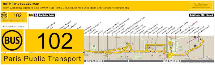 Paris Bus Line 102 Map With Stops