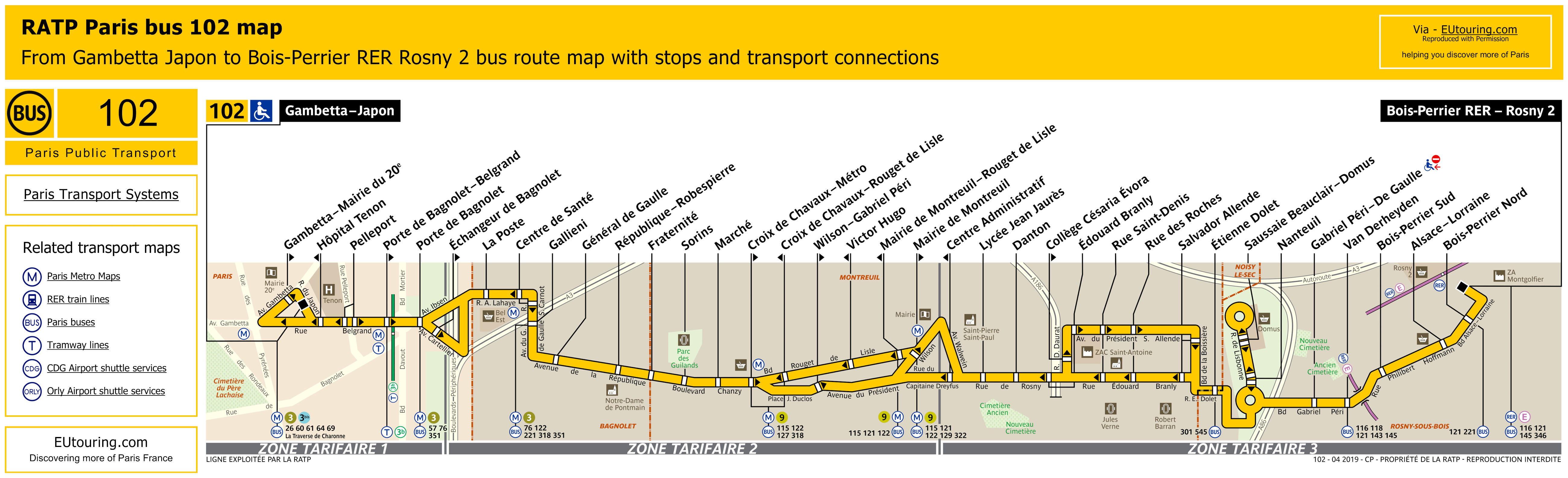RATP route maps, timetables for Paris bus lines 100 to 109 - Update 2019