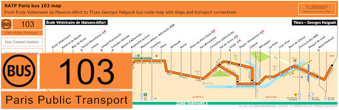 Paris Bus Line 103 Map With Stops