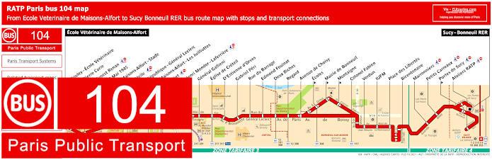 Paris Bus Line 104 Map With Stops