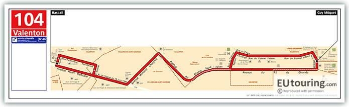 Paris Bus Line 104V Map With Stops