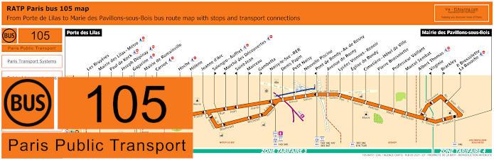 Paris Bus Line 105 Map With Stops