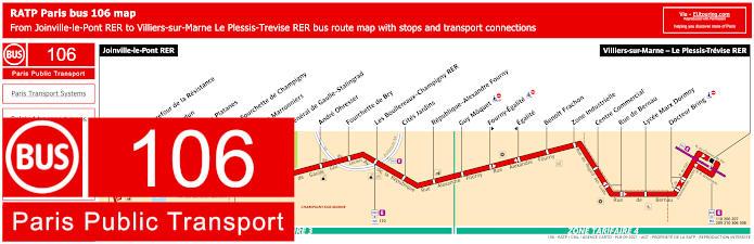 Paris Bus Line 106 Map With Stops