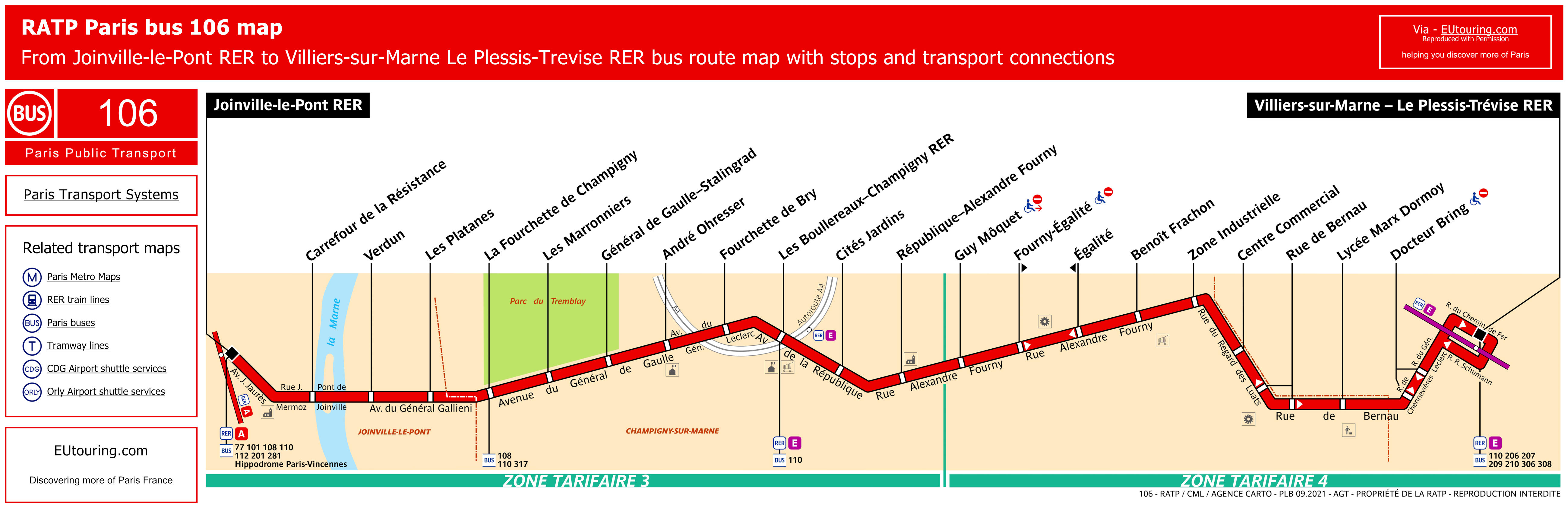 ratp route maps for paris bus lines 100 through to 109
