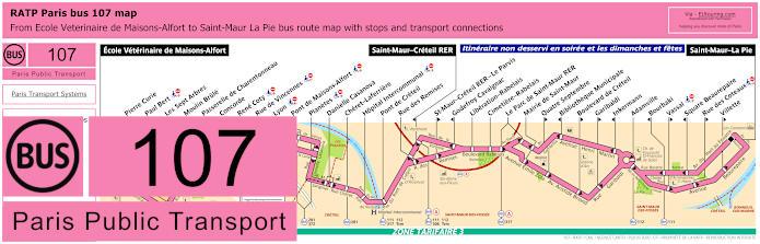 Paris Bus Line 107 Map With Stops