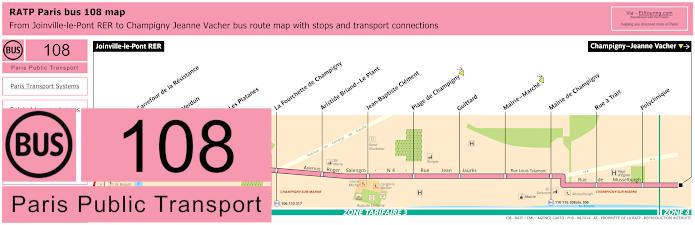 Paris Bus Line 108 Map With Stops
