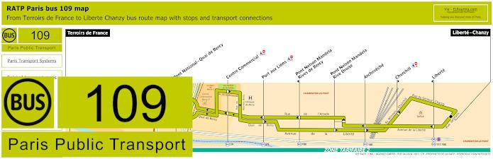 Paris Bus Line 109 Map With Stops
