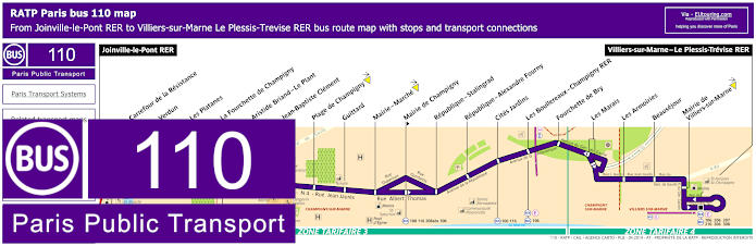 Paris Bus Line 110 Map With Stops