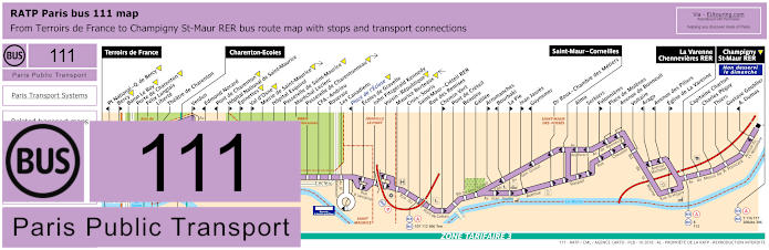 Paris Bus Line 111 Map With Stops