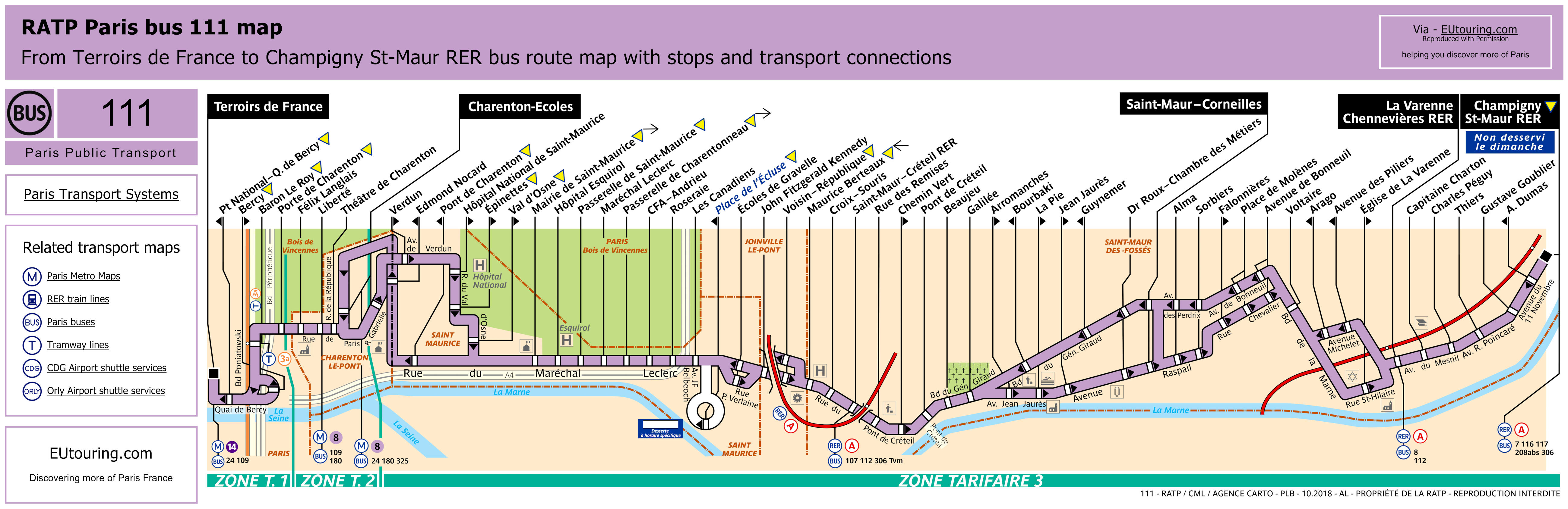 RATP route maps for Paris bus lines 110 through to 119 on