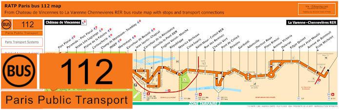 Paris Bus Line 112 Map With Stops