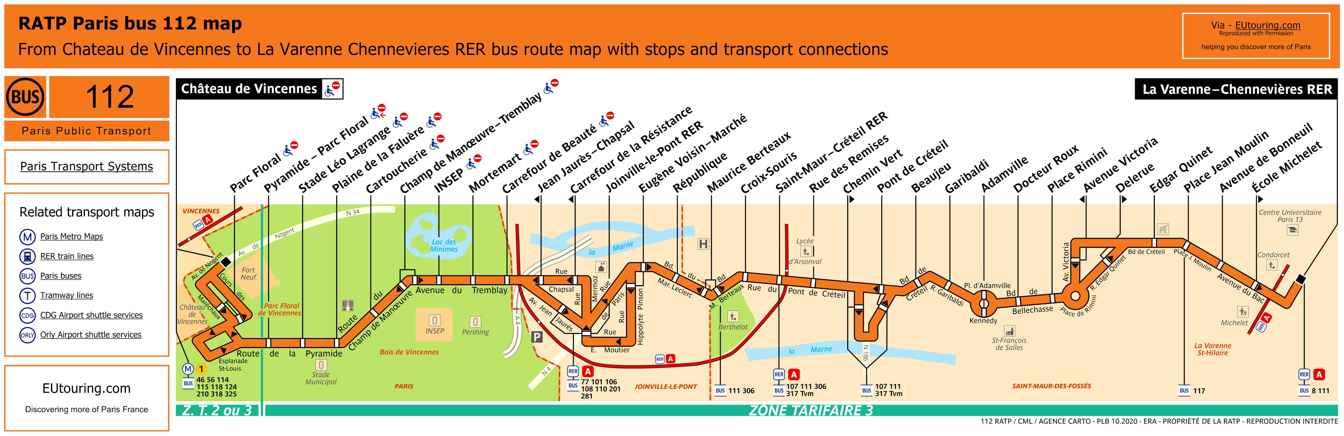 RATP route maps for Paris bus lines 110 through to 119